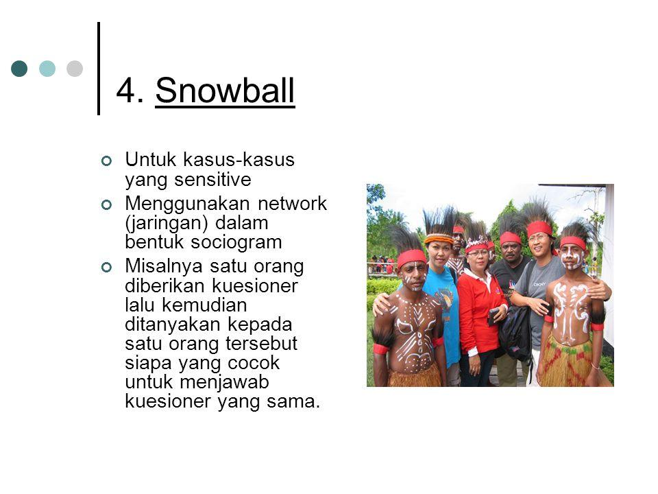 4. Snowball Untuk kasus-kasus yang sensitive Menggunakan network (jaringan) dalam bentuk sociogram Misalnya satu orang diberikan kuesioner lalu kemudi
