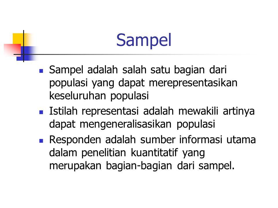 Sampel Sampel adalah salah satu bagian dari populasi yang dapat merepresentasikan keseluruhan populasi Istilah representasi adalah mewakili artinya dapat mengeneralisasikan populasi Responden adalah sumber informasi utama dalam penelitian kuantitatif yang merupakan bagian-bagian dari sampel.