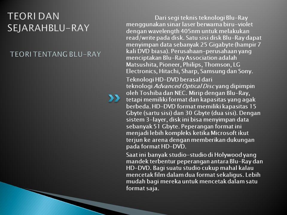 Dari segi teknis teknologi Blu-Ray menggunakan sinar laser berwarna biru-violet dengan wavelength 405nm untuk melakukan read/write pada disk.