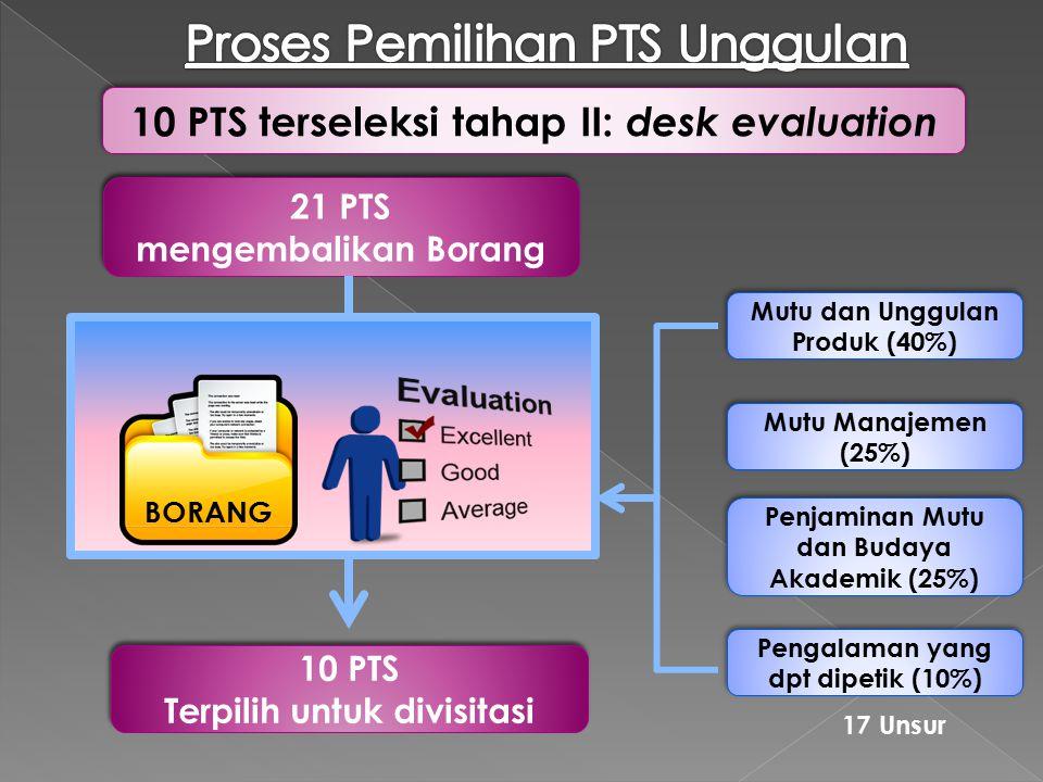 21 PTS mengembalikan Borang 21 PTS mengembalikan Borang BORANG 10 PTS Terpilih untuk divisitasi 10 PTS Terpilih untuk divisitasi Mutu dan Unggulan Pro