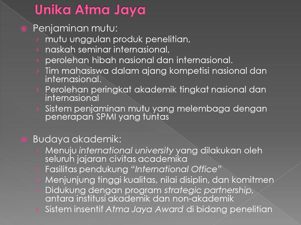  Penjaminan mutu: › mutu unggulan produk penelitian, › naskah seminar internasional, › perolehan hibah nasional dan internasional. › Tim mahasiswa da