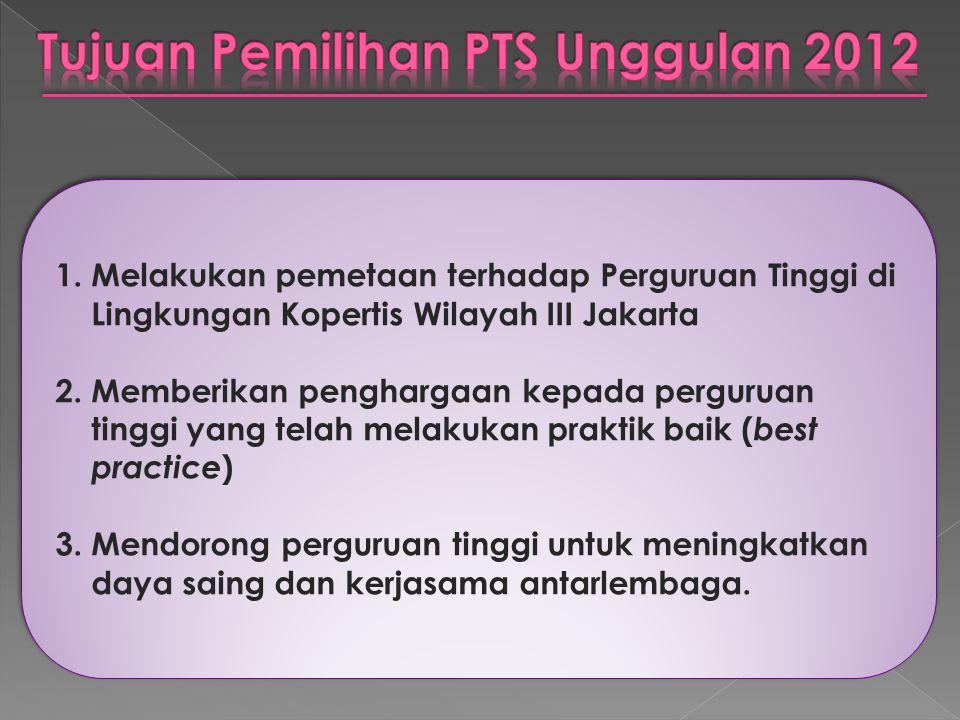  Tahap I : penyaringan bakal calon dari laporan Epsbed yang disampaikan s/d 2011-1  Tahap II : desk evaluation dari borang yang diisi dan dikembalikan  Tahap III : visitasi dan verifikasi ke PTS  Tahap IV : Pengambilan keputusan melalui Rapat Pleno