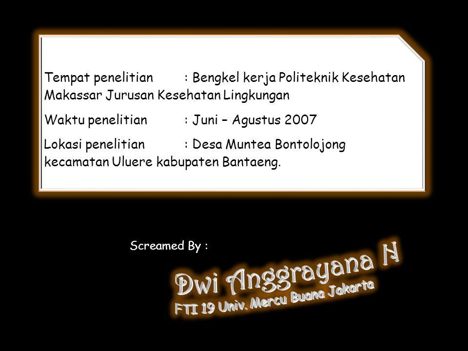 Tempat penelitian: Bengkel kerja Politeknik Kesehatan Makassar Jurusan Kesehatan Lingkungan Waktu penelitian : Juni – Agustus 2007 Lokasi penelitian :