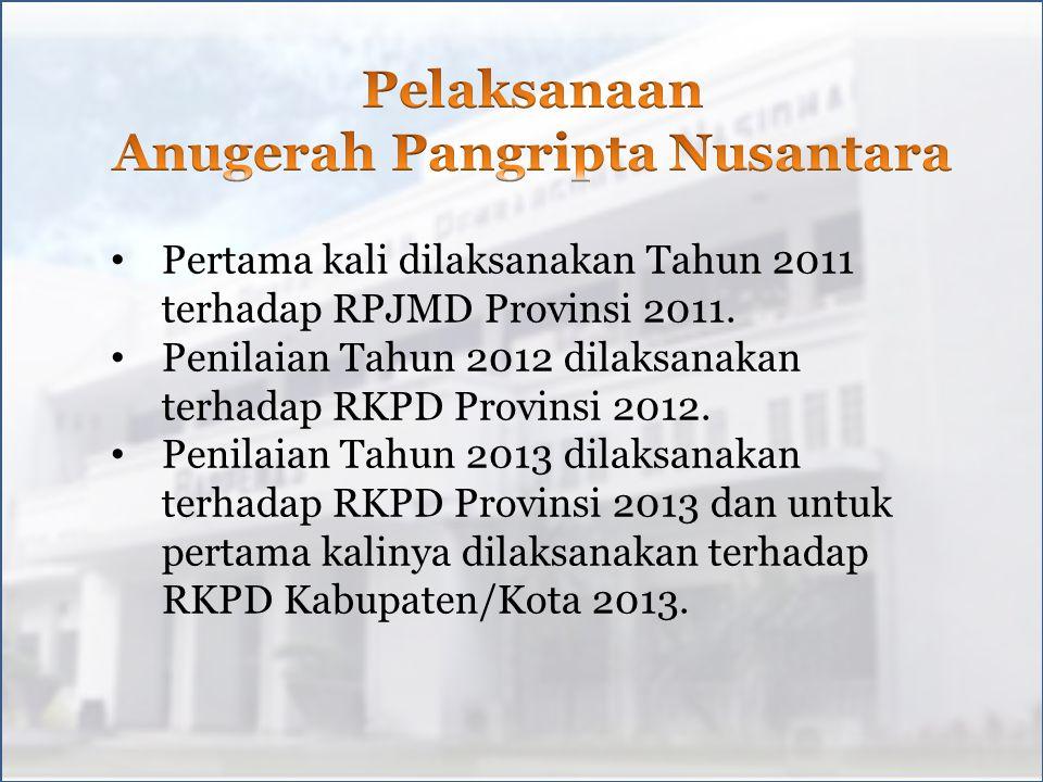 Pertama kali dilaksanakan Tahun 2011 terhadap RPJMD Provinsi 2011.