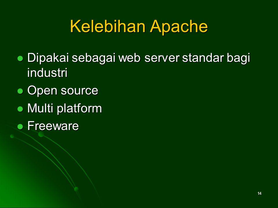 Kelebihan Apache Dipakai sebagai web server standar bagi industri Dipakai sebagai web server standar bagi industri Open source Open source Multi platform Multi platform Freeware Freeware 14