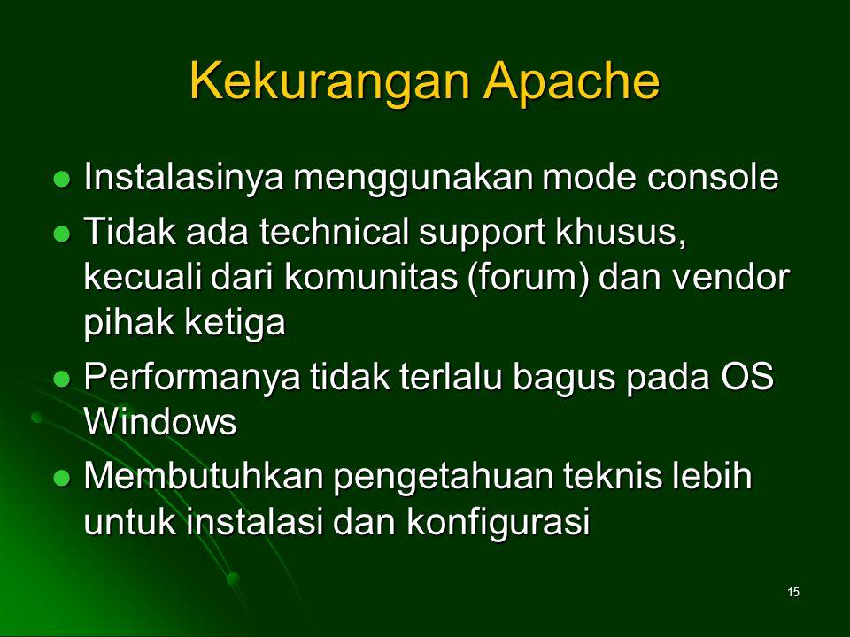 Kekurangan Apache Instalasinya menggunakan mode console Instalasinya menggunakan mode console Tidak ada technical support khusus, kecuali dari komunitas (forum) dan vendor pihak ketiga Tidak ada technical support khusus, kecuali dari komunitas (forum) dan vendor pihak ketiga Performanya tidak terlalu bagus pada OS Windows Performanya tidak terlalu bagus pada OS Windows Membutuhkan pengetahuan teknis lebih untuk instalasi dan konfigurasi Membutuhkan pengetahuan teknis lebih untuk instalasi dan konfigurasi 15
