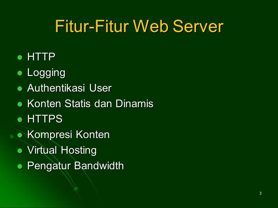 3 Fitur-Fitur Web Server HTTP HTTP Logging Logging Authentikasi User Authentikasi User Konten Statis dan Dinamis Konten Statis dan Dinamis HTTPS HTTPS Kompresi Konten Kompresi Konten Virtual Hosting Virtual Hosting Pengatur Bandwidth Pengatur Bandwidth