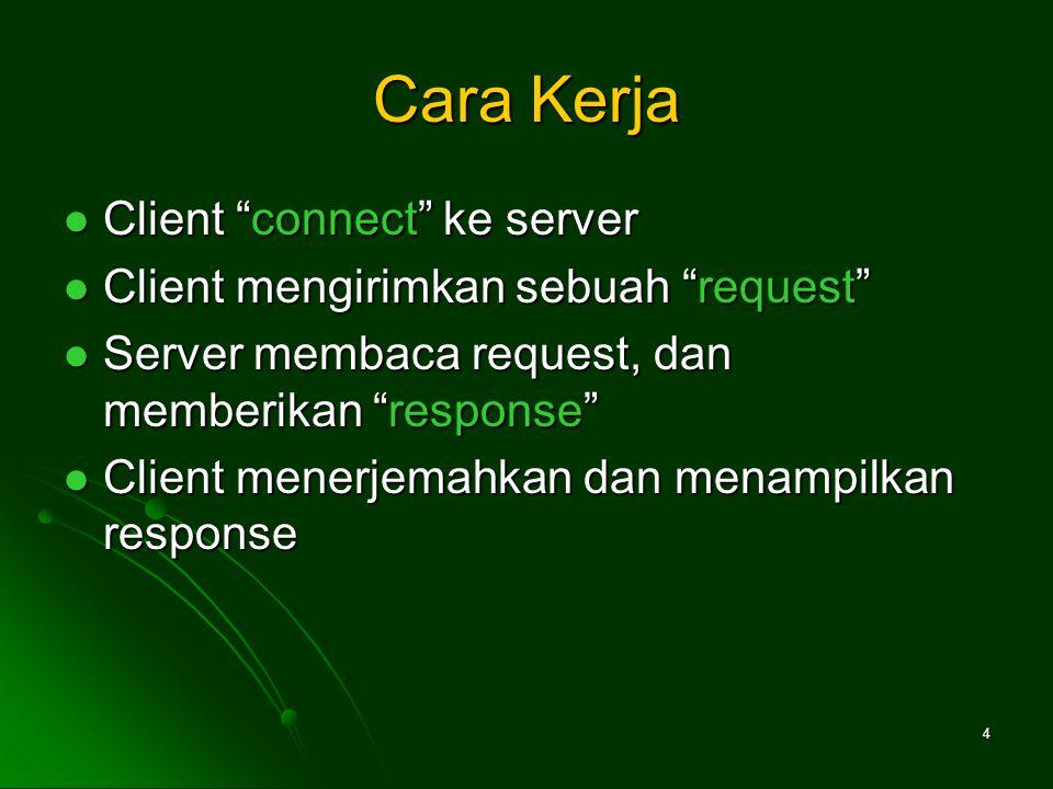 4 Cara Kerja Client connect ke server Client connect ke server Client mengirimkan sebuah request Client mengirimkan sebuah request Server membaca request, dan memberikan response Server membaca request, dan memberikan response Client menerjemahkan dan menampilkan response Client menerjemahkan dan menampilkan response