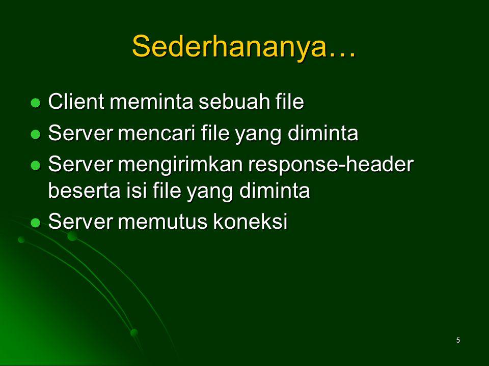5 Sederhananya… Client meminta sebuah file Client meminta sebuah file Server mencari file yang diminta Server mencari file yang diminta Server mengirimkan response-header beserta isi file yang diminta Server mengirimkan response-header beserta isi file yang diminta Server memutus koneksi Server memutus koneksi
