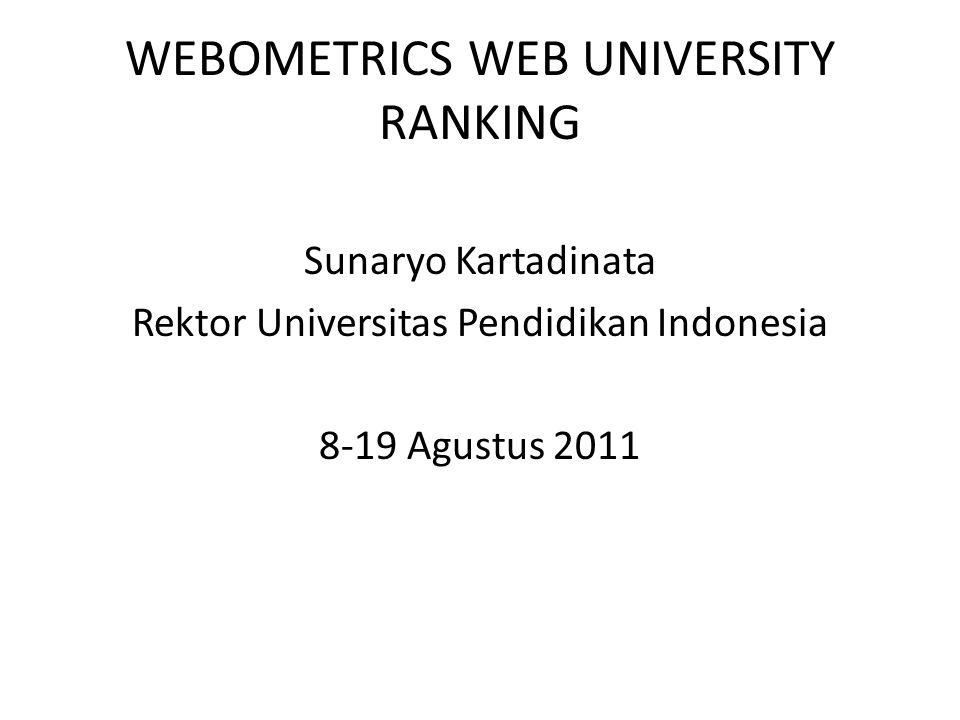 WEBOMETRICS WEB UNIVERSITY RANKING Sunaryo Kartadinata Rektor Universitas Pendidikan Indonesia 8-19 Agustus 2011
