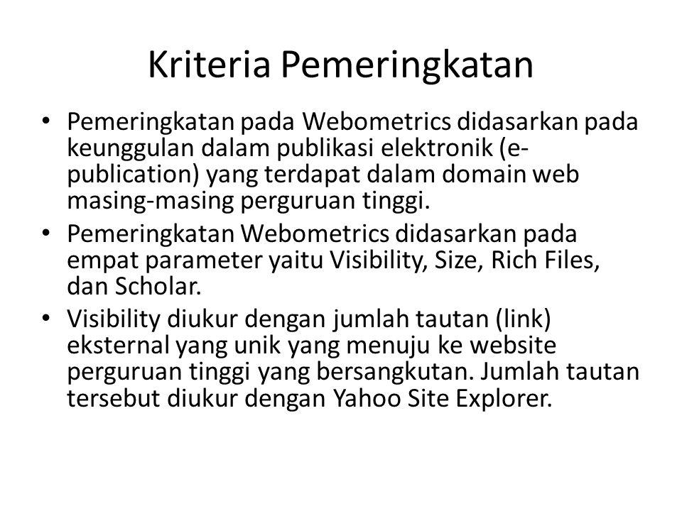 Kriteria Pemeringkatan Pemeringkatan pada Webometrics didasarkan pada keunggulan dalam publikasi elektronik (e- publication) yang terdapat dalam domain web masing-masing perguruan tinggi.