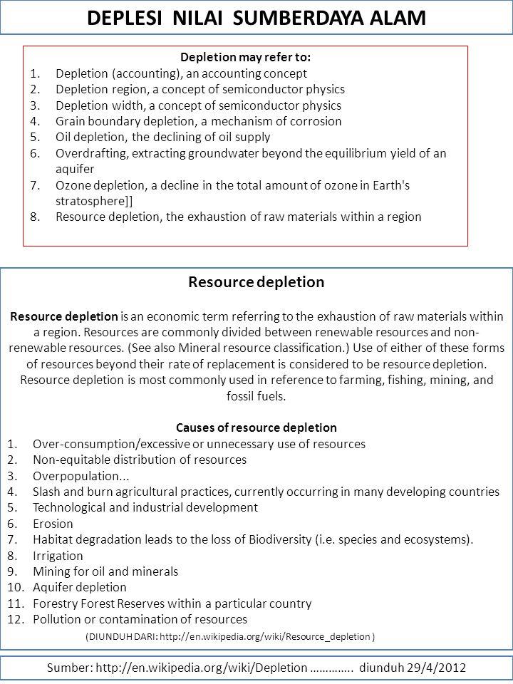 DEPLESI NILAI SUMBERDAYA ALAM Sumber: http://en.wikipedia.org/wiki/Depletion …………..