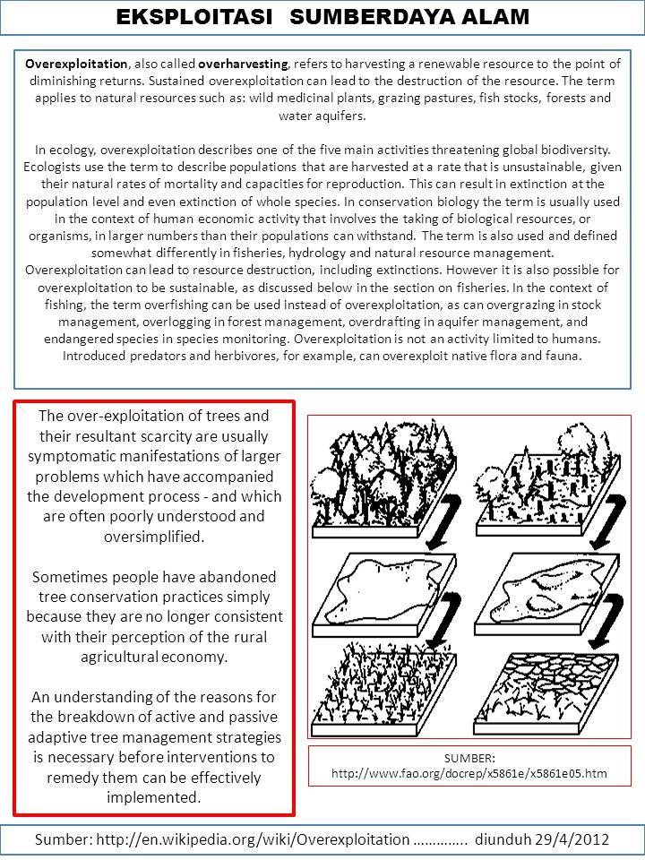 EKSPLOITASI SUMBERDAYA ALAM Sumber: http://en.wikipedia.org/wiki/Overexploitation …………..
