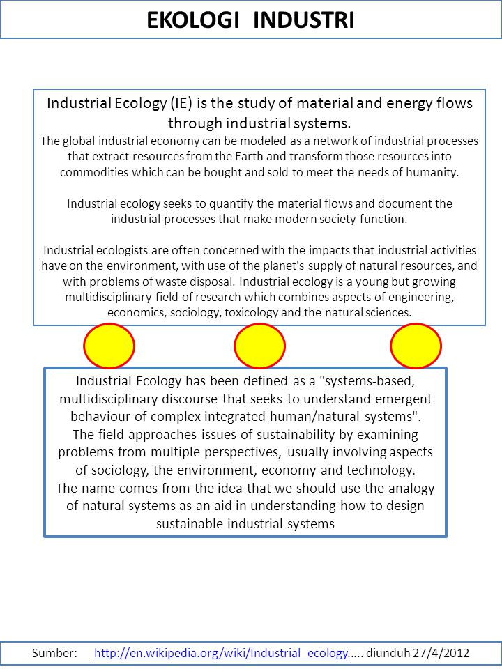 EKOLOGI INDUSTRI Industrial Ecology (IE) is the study of material and energy flows through industrial systems.