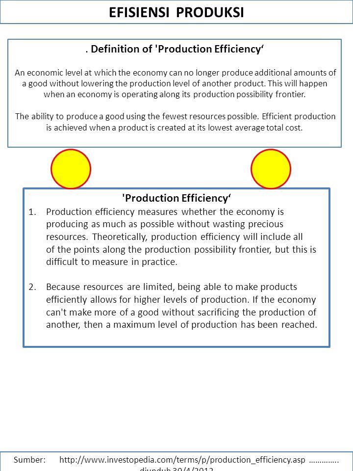 EFISIENSI PRODUKSI Sumber: http://www.investopedia.com/terms/p/production_efficiency.asp ………….. diunduh 30/4/2012. Definition of 'Production Efficienc