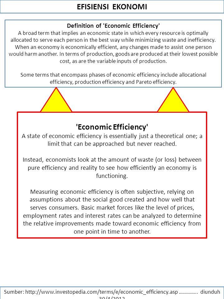 EFISIENSI EKONOMI Sumber: http://www.investopedia.com/terms/e/economic_efficiency.asp ………….. diunduh 30/4/2012 Definition of 'Economic Efficiency' A b