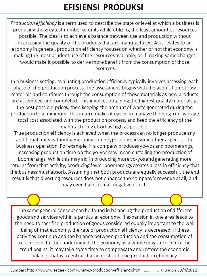 EFISIENSI PRODUKSI Sumber: http://www.wisegeek.com/what-is-production-efficiency.htm ………….. diunduh 30/4/2012 Production efficiency is a term used to