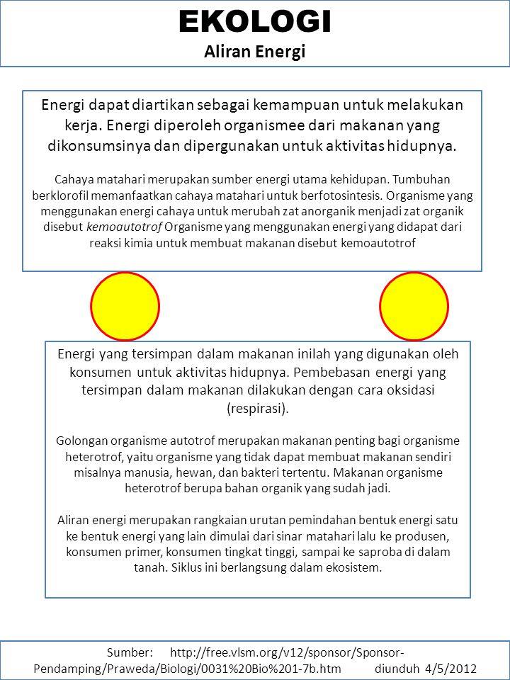 EKOLOGI Aliran Energi Energi dapat diartikan sebagai kemampuan untuk melakukan kerja.