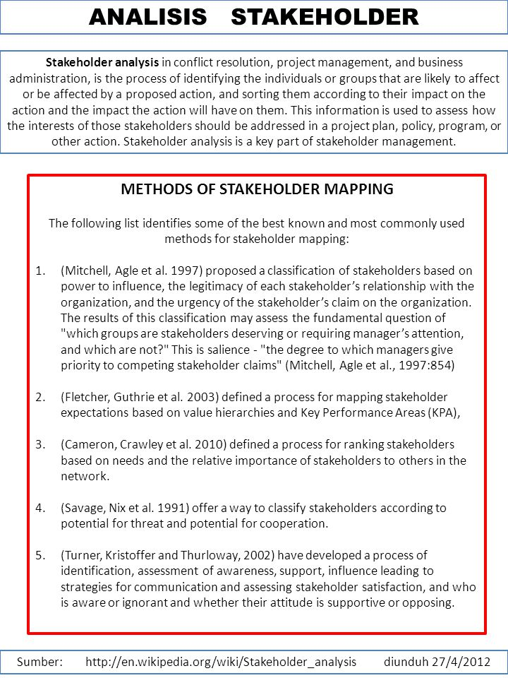 ANALISIS STAKEHOLDER Sumber: http://en.wikipedia.org/wiki/Stakeholder_analysis diunduh 27/4/2012 Stakeholder analysis in conflict resolution, project management, and business administration, is the process of identifying the individuals or groups that are likely to affect or be affected by a proposed action, and sorting them according to their impact on the action and the impact the action will have on them.