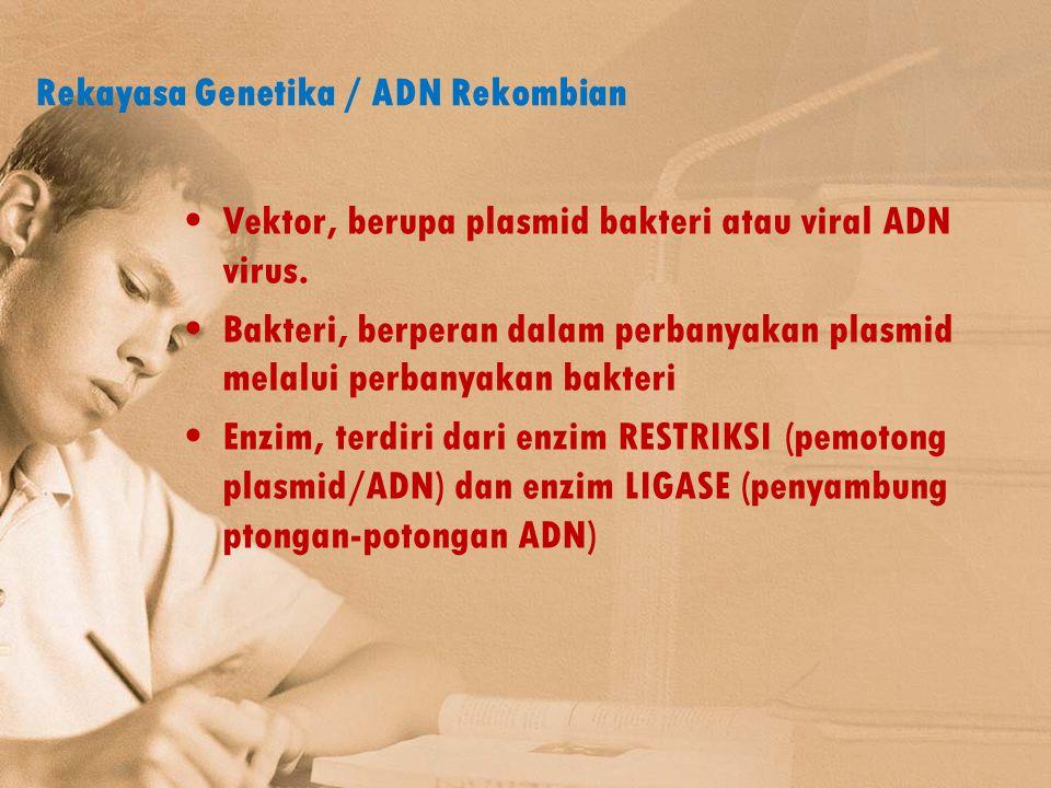 Rekayasa Genetika / ADN Rekombian Vektor, berupa plasmid bakteri atau viral ADN virus. Bakteri, berperan dalam perbanyakan plasmid melalui perbanyakan