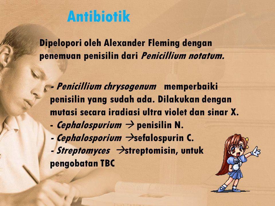 Antibiotik Dipelopori oleh Alexander Fleming dengan penemuan penisilin dari Penicillium notatum. - Penicillium chrysogenum memperbaiki penisilin yang