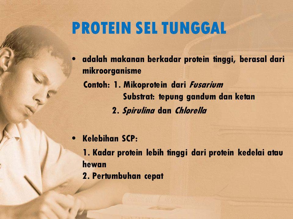 PROTEIN SEL TUNGGAL adalah makanan berkadar protein tinggi, berasal dari mikroorganisme Contoh: 1. Mikoprotein dari Fusarium Substrat: tepung gandum d