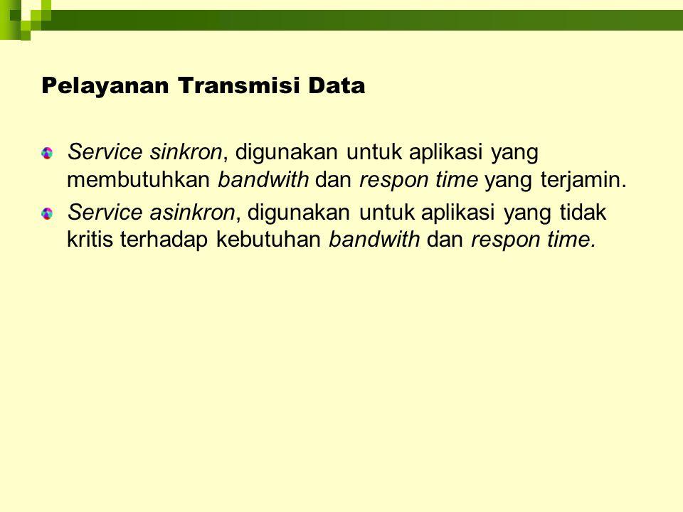Pelayanan Transmisi Data Service sinkron, digunakan untuk aplikasi yang membutuhkan bandwith dan respon time yang terjamin. Service asinkron, digunaka