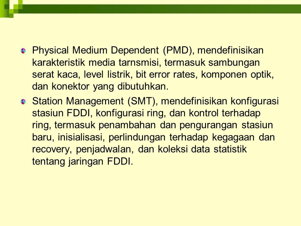 Physical Medium Dependent (PMD), mendefinisikan karakteristik media tarnsmisi, termasuk sambungan serat kaca, level listrik, bit error rates, komponen