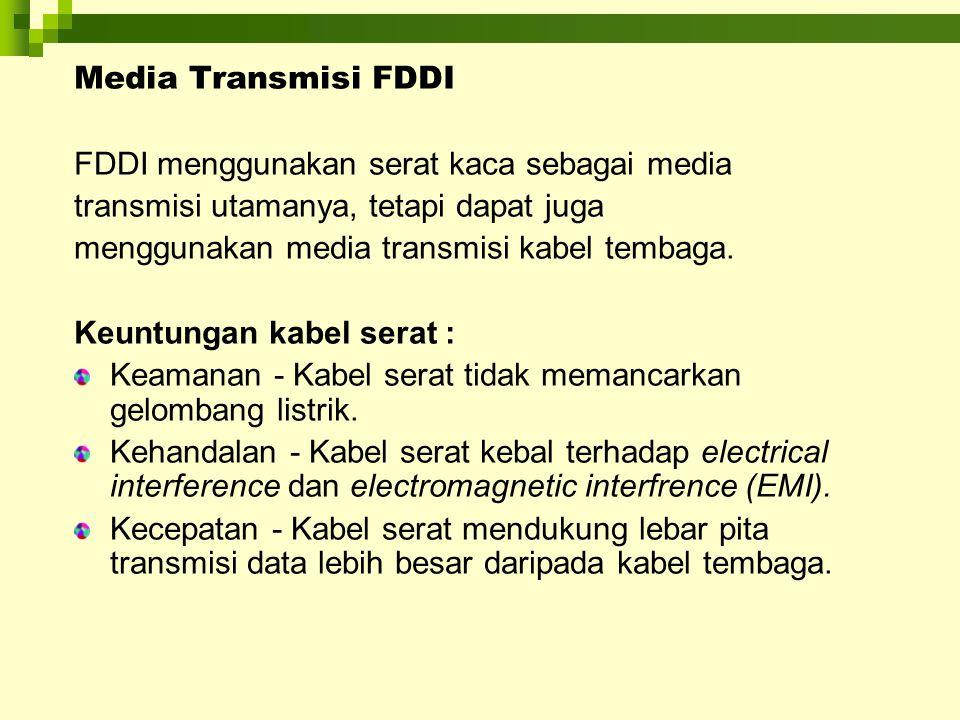 Media Transmisi FDDI FDDI menggunakan serat kaca sebagai media transmisi utamanya, tetapi dapat juga menggunakan media transmisi kabel tembaga. Keuntu