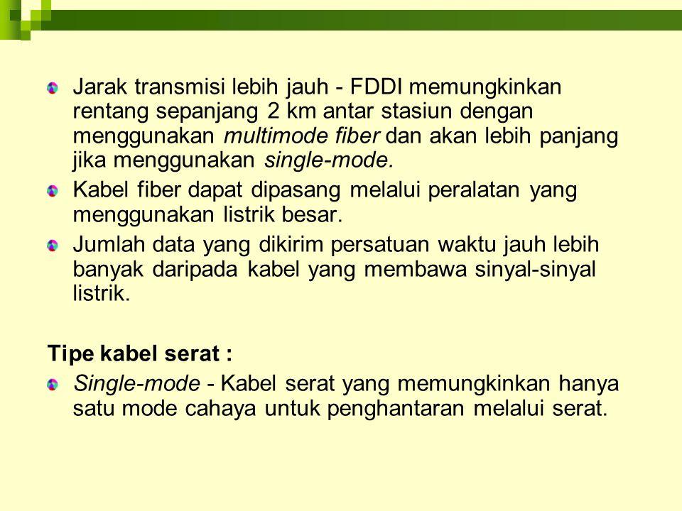 Toleransi Kegagalan FDDI FDDI menyediakan beberapa mekanisme untuk mendukung toleransi kegagalan pada jaringan FDDI : Dual ring, merupakan konfigurasi utama untuk toleransi kegagalan untuk semua jaringan FDDI.