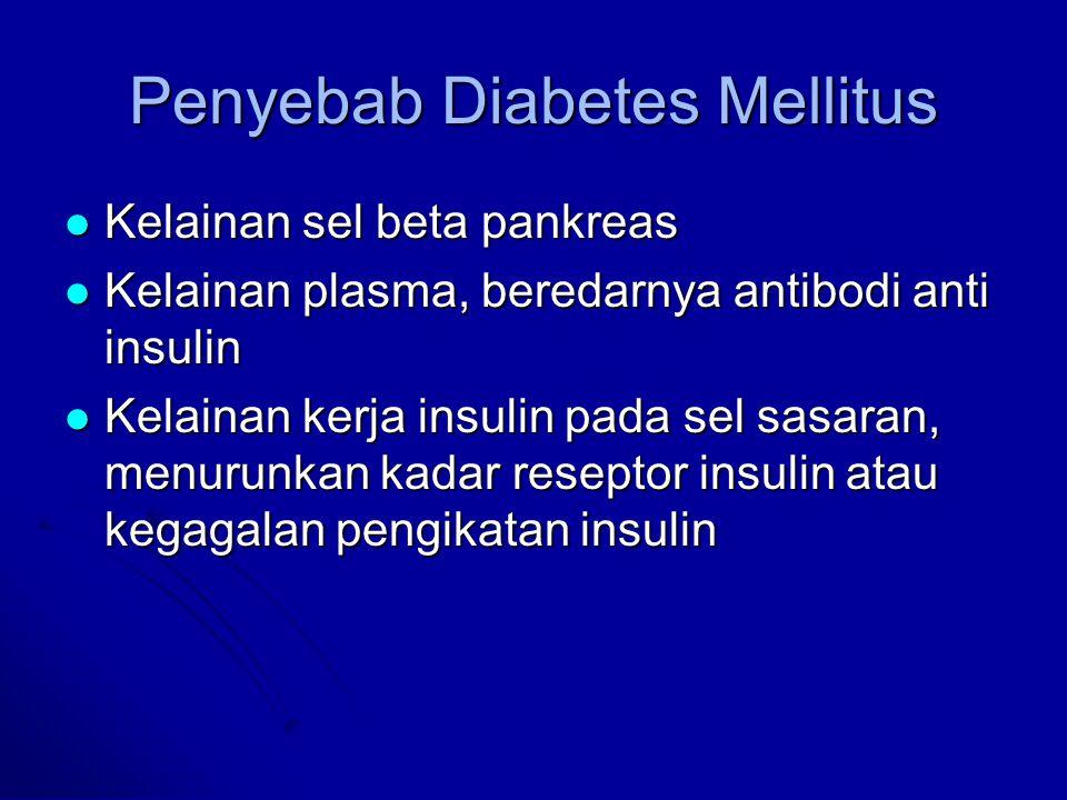 Penyebab Diabetes Mellitus Kelainan sel beta pankreas Kelainan sel beta pankreas Kelainan plasma, beredarnya antibodi anti insulin Kelainan plasma, be