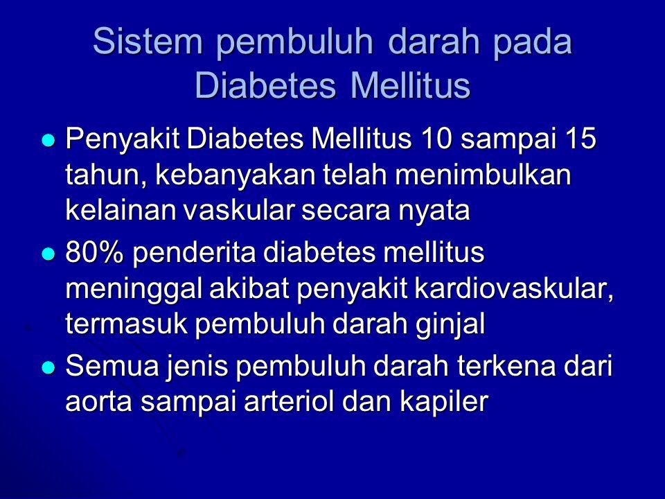 Sistem pembuluh darah pada Diabetes Mellitus Penyakit Diabetes Mellitus 10 sampai 15 tahun, kebanyakan telah menimbulkan kelainan vaskular secara nyat