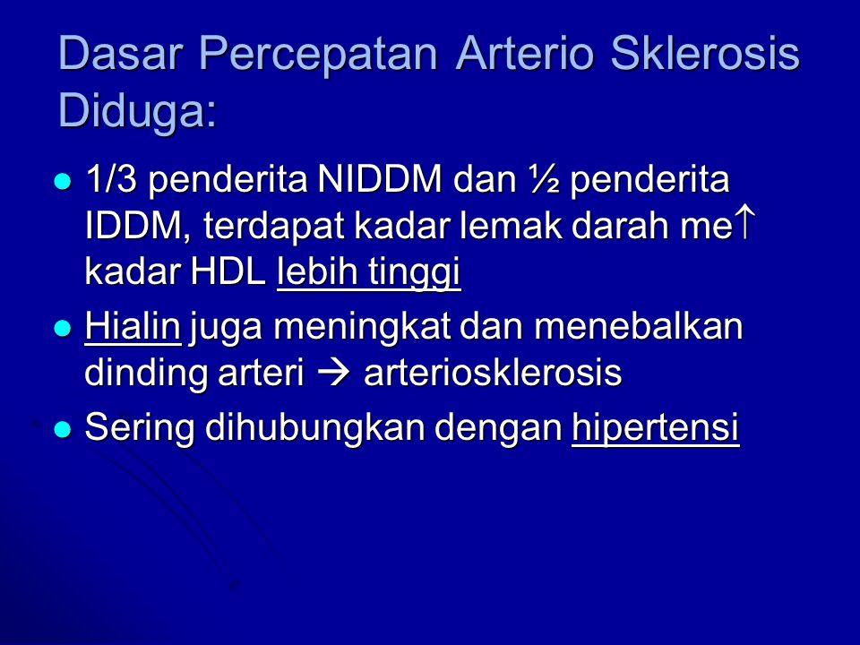 Dasar Percepatan Arterio Sklerosis Diduga: 1/3 penderita NIDDM dan ½ penderita IDDM, terdapat kadar lemak darah me  kadar HDL lebih tinggi 1/3 pender