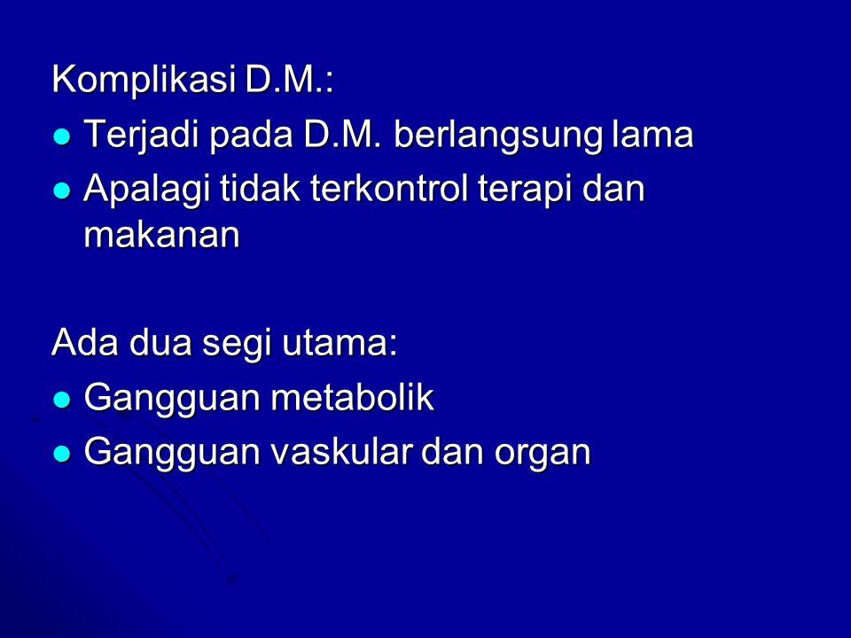Komplikasi D.M.: Terjadi pada D.M. berlangsung lama Terjadi pada D.M. berlangsung lama Apalagi tidak terkontrol terapi dan makanan Apalagi tidak terko