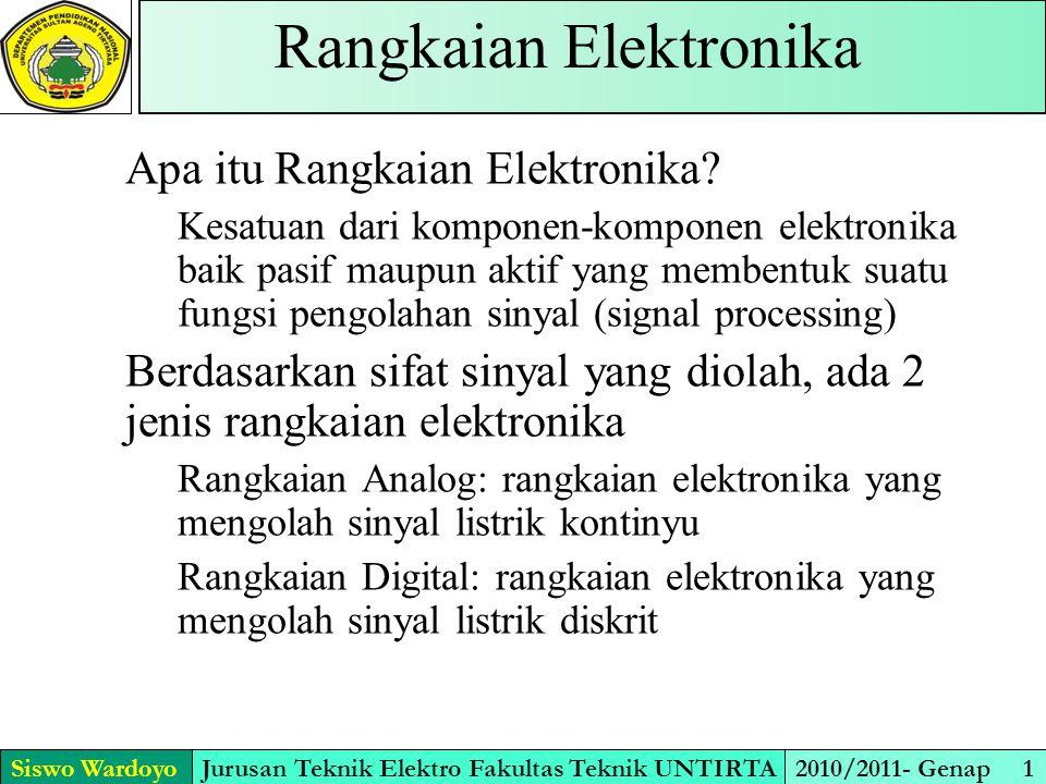 Siswo WardoyoJurusan Teknik Elektro Fakultas Teknik UNTIRTA2010/2011- Genap 1 Rangkaian Elektronika Apa itu Rangkaian Elektronika? Kesatuan dari kompo