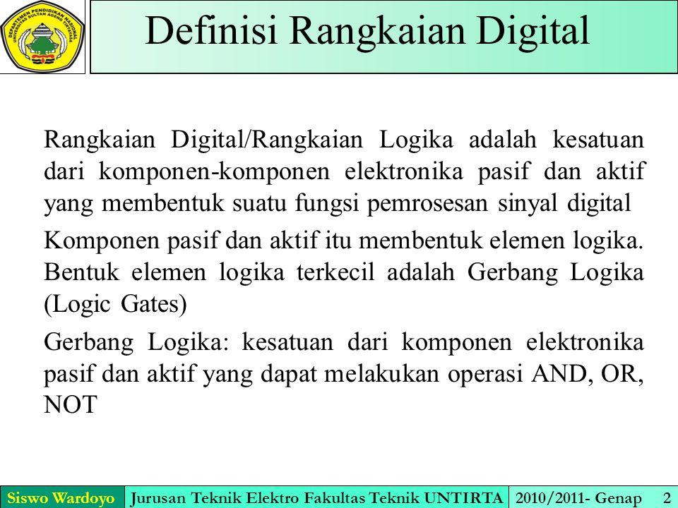 Siswo WardoyoJurusan Teknik Elektro Fakultas Teknik UNTIRTA2010/2011- Genap 2 Definisi Rangkaian Digital Rangkaian Digital/Rangkaian Logika adalah kesatuan dari komponen-komponen elektronika pasif dan aktif yang membentuk suatu fungsi pemrosesan sinyal digital Komponen pasif dan aktif itu membentuk elemen logika.