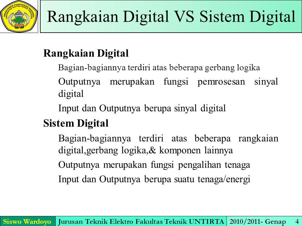 Siswo WardoyoJurusan Teknik Elektro Fakultas Teknik UNTIRTA2010/2011- Genap 4 Rangkaian Digital VS Sistem Digital Rangkaian Digital Bagian-bagiannya t