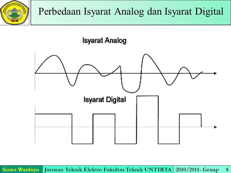 Siswo WardoyoJurusan Teknik Elektro Fakultas Teknik UNTIRTA2010/2011- Genap 8 Perbedaan Isyarat Analog dan Isyarat Digital