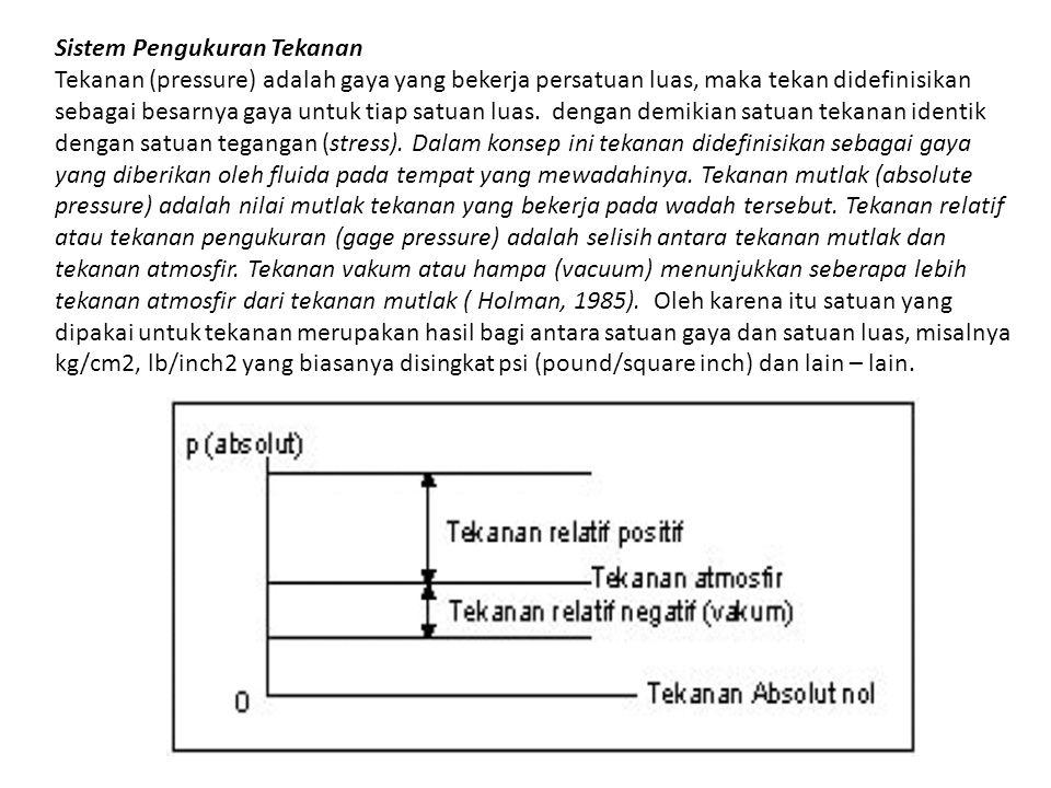 Sistem Pengukuran Tekanan Tekanan (pressure) adalah gaya yang bekerja persatuan luas, maka tekan didefinisikan sebagai besarnya gaya untuk tiap satuan
