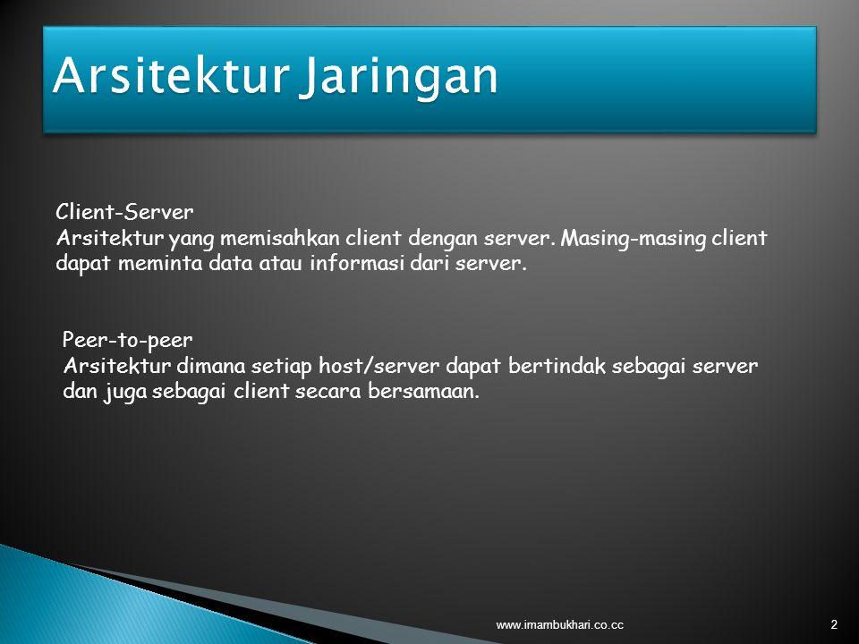 2 Client-Server Arsitektur yang memisahkan client dengan server. Masing-masing client dapat meminta data atau informasi dari server. Peer-to-peer Arsi