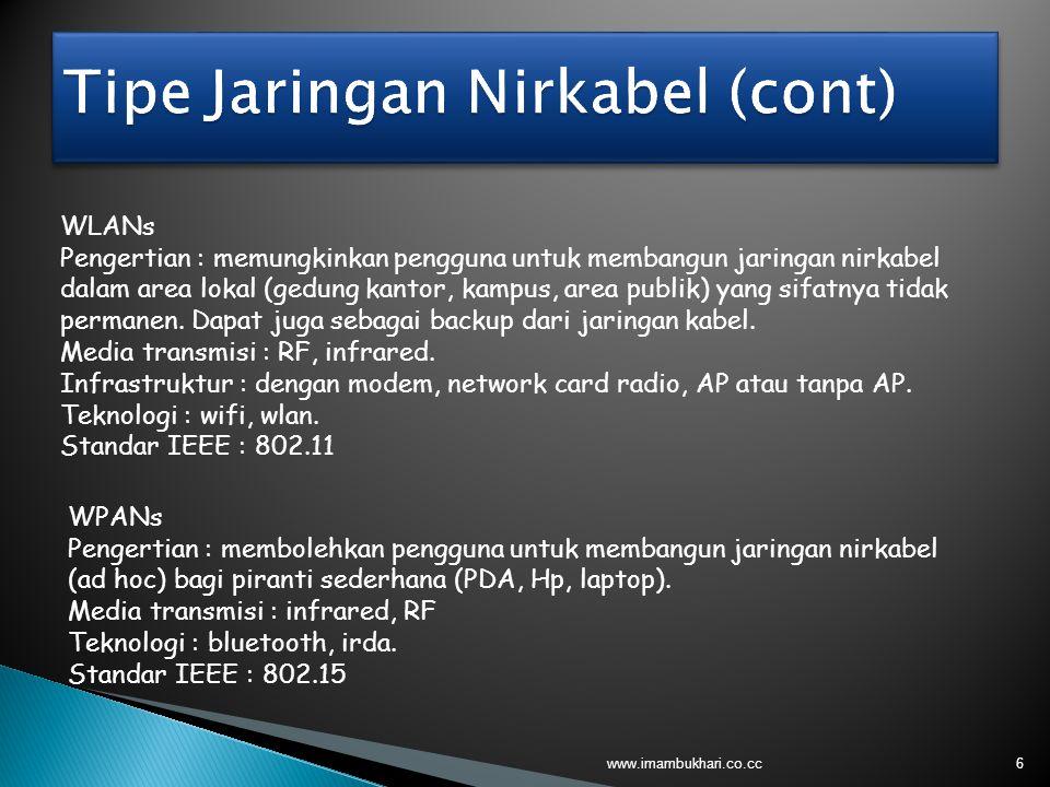 6 WLANs Pengertian : memungkinkan pengguna untuk membangun jaringan nirkabel dalam area lokal (gedung kantor, kampus, area publik) yang sifatnya tidak