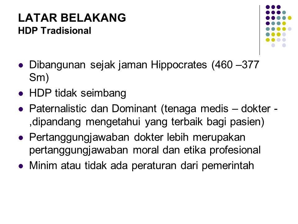 LATAR BELAKANG HDP Tradisional Dibangunan sejak jaman Hippocrates (460 –377 Sm) HDP tidak seimbang Paternalistic dan Dominant (tenaga medis – dokter -