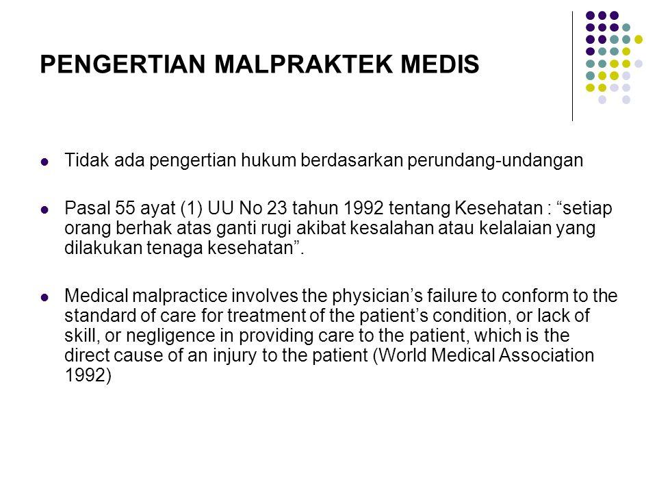 """PENGERTIAN MALPRAKTEK MEDIS Tidak ada pengertian hukum berdasarkan perundang-undangan Pasal 55 ayat (1) UU No 23 tahun 1992 tentang Kesehatan : """"setia"""