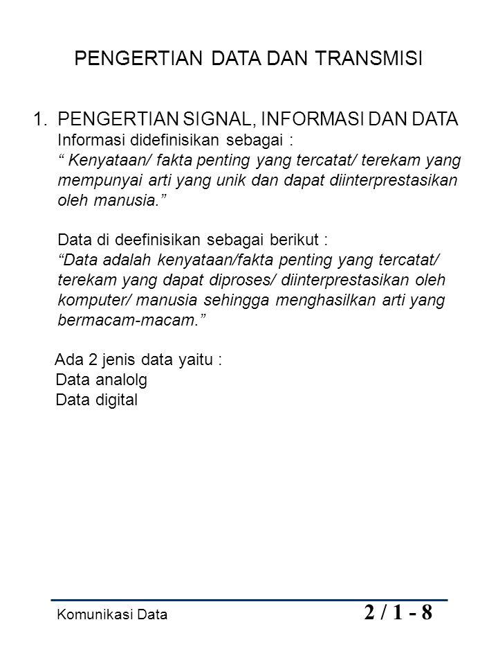 "Komunikasi Data 2 / 1 - 8 PENGERTIAN DATA DAN TRANSMISI 1.PENGERTIAN SIGNAL, INFORMASI DAN DATA Informasi didefinisikan sebagai : "" Kenyataan/ fakta p"