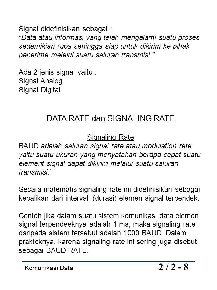 Komunikasi Data 2 / 3 - 8 Data rate adalah suatu ukuran yang menyatakan banyaknya data (dalam bit) yang dapat dikirim per satuan waktu.