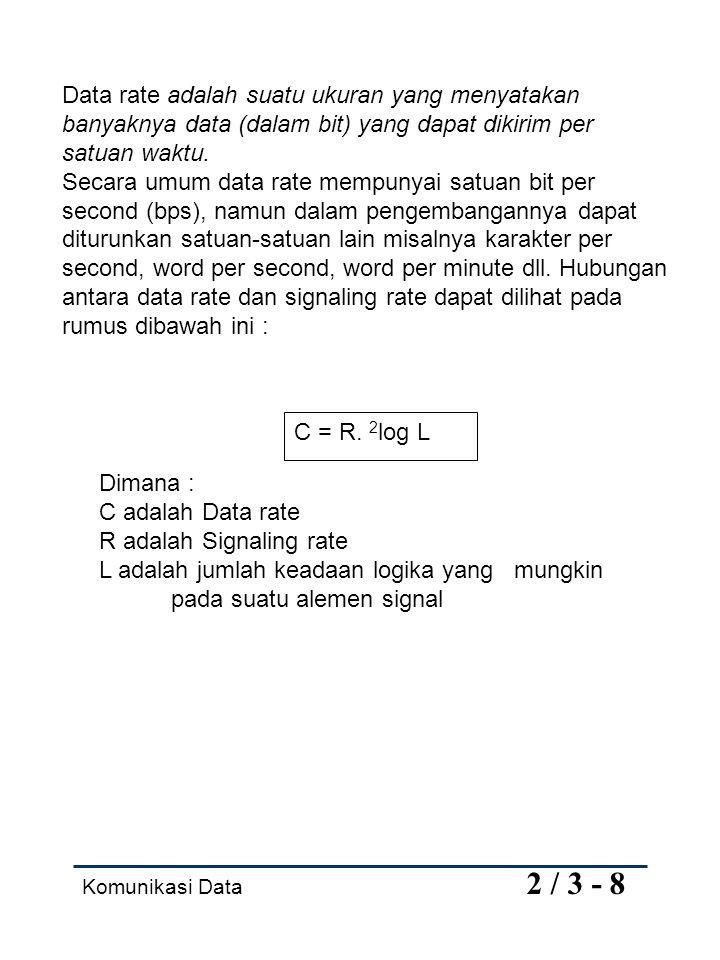 Komunikasi Data 2 / 3 - 8 Data rate adalah suatu ukuran yang menyatakan banyaknya data (dalam bit) yang dapat dikirim per satuan waktu. Secara umum da
