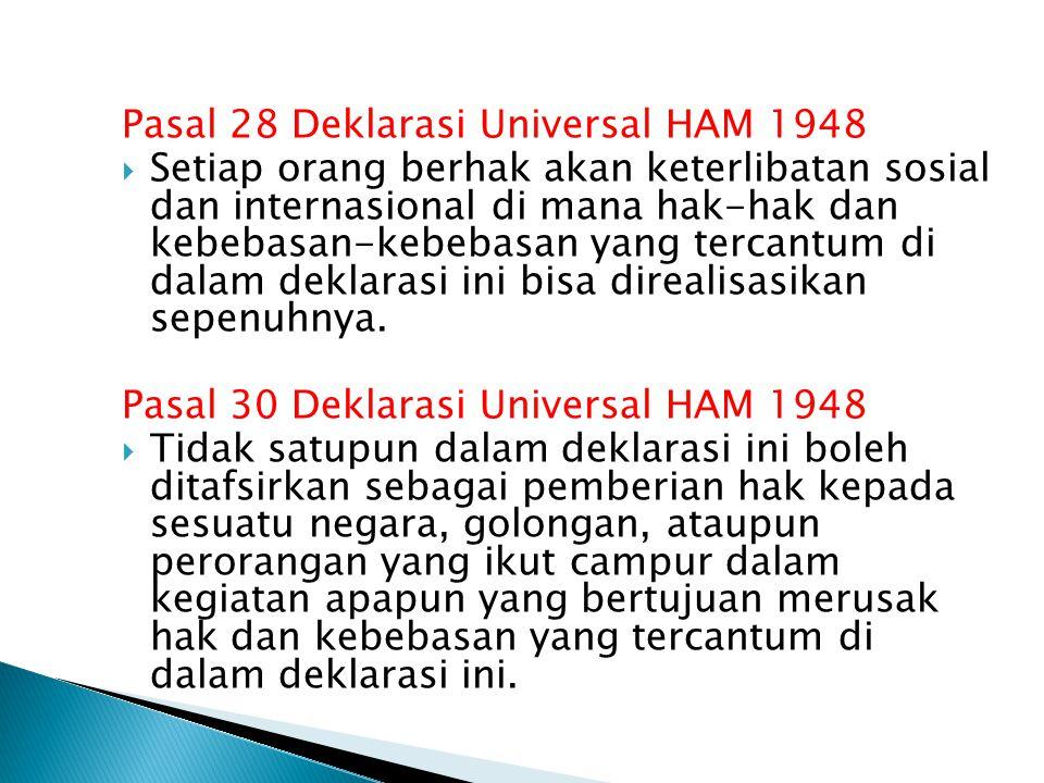 Pasal 28 Deklarasi Universal HAM 1948  Setiap orang berhak akan keterlibatan sosial dan internasional di mana hak-hak dan kebebasan-kebebasan yang tercantum di dalam deklarasi ini bisa direalisasikan sepenuhnya.