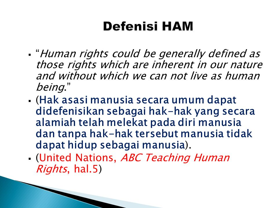 " ""Human rights could be generally defined as those rights which are inherent in our nature and without which we can not live as human being.""  (Hak"