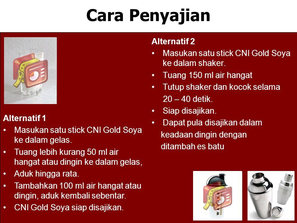 Cara Penyajian Alternatif 2 Masukan satu stick CNI Gold Soya ke dalam shaker. Tuang 150 ml air hangat Tutup shaker dan kocok selama 20 – 40 detik. Sia
