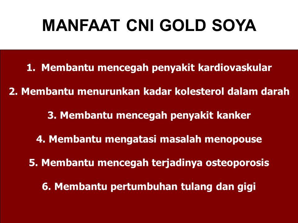 MANFAAT CNI GOLD SOYA 1.Membantu mencegah penyakit kardiovaskular 2.